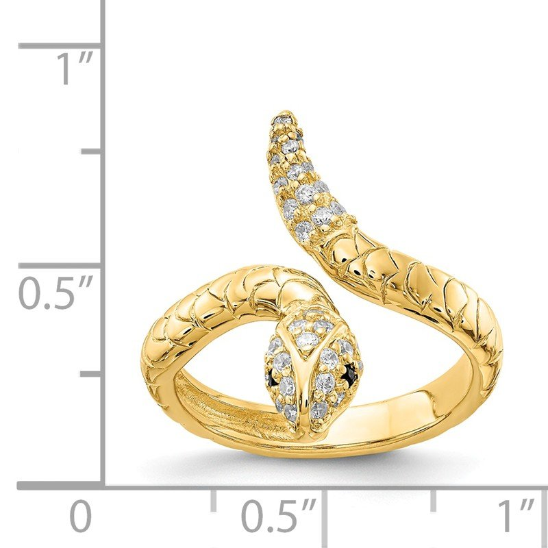 Cheryl M Cheryl M Sterling Silver Gold-plated Brilliant-cut CZ Snake Ring