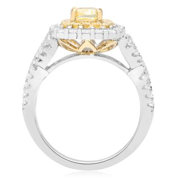 Cushion Cut Fancy Yellow Diamond Ring
