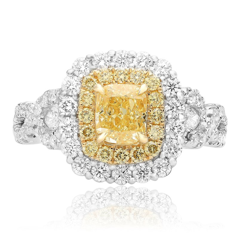 Roman & Jules Cushion Cut Fancy Yellow Diamond Ring