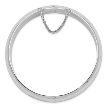 Sterling Silver Rhodium-plated 15mm Fancy Hinged Bangle Bracelet