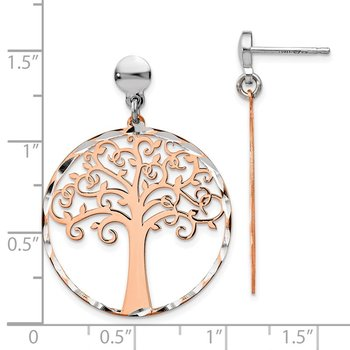 Leslie's Sterling Silver Rose-tone Tree Post Dangle Earrings