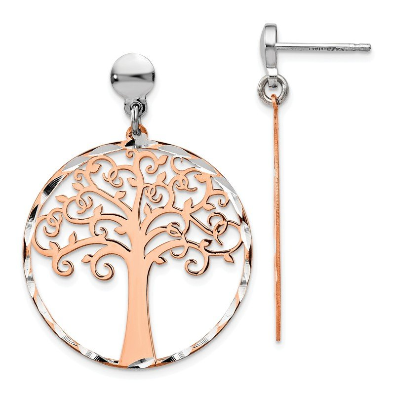 Leslie's Leslie's Sterling Silver Rose-tone Tree Post Dangle Earrings
