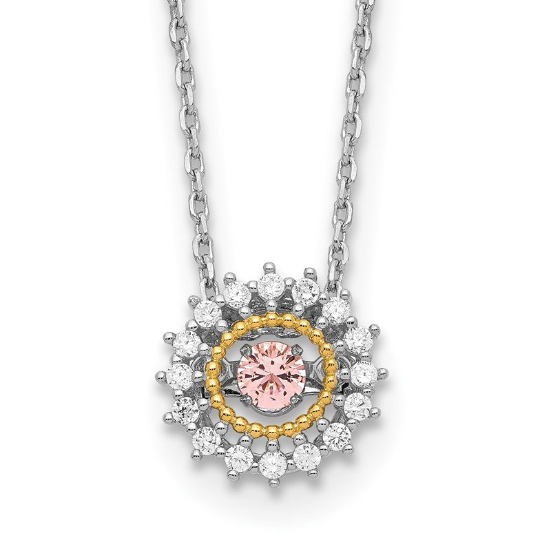 Quality Gold Sterling Silver RH-pltd Gold-tone Moving Pink CZ w/2in ext Necklace