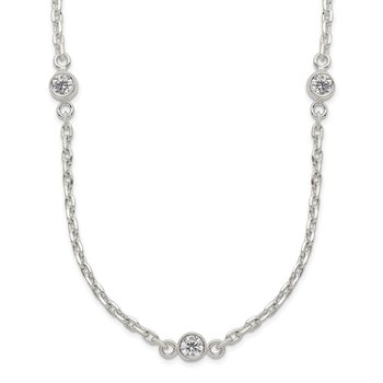 Sterling Silver Polished 5-Station CZ Necklace