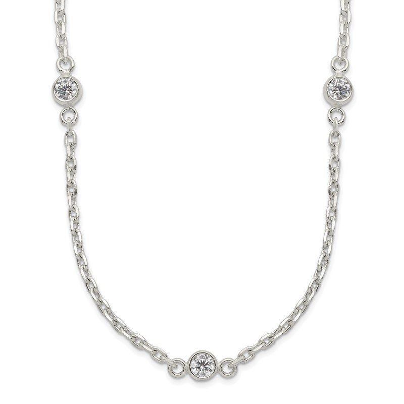 Quality Gold Sterling Silver Polished 5-Station CZ Necklace