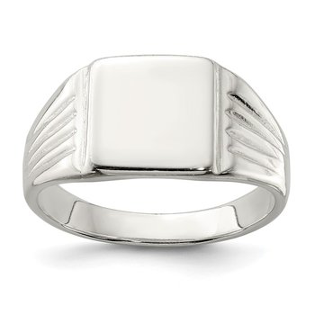 Sterling Silver 11x11mm Open Back Signet Ring