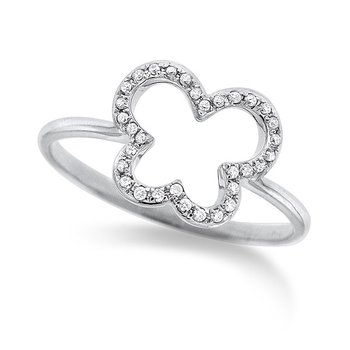 Diamond Butterfly Ring in 14K White Gold with 32 diamonds weighing .10ct tw