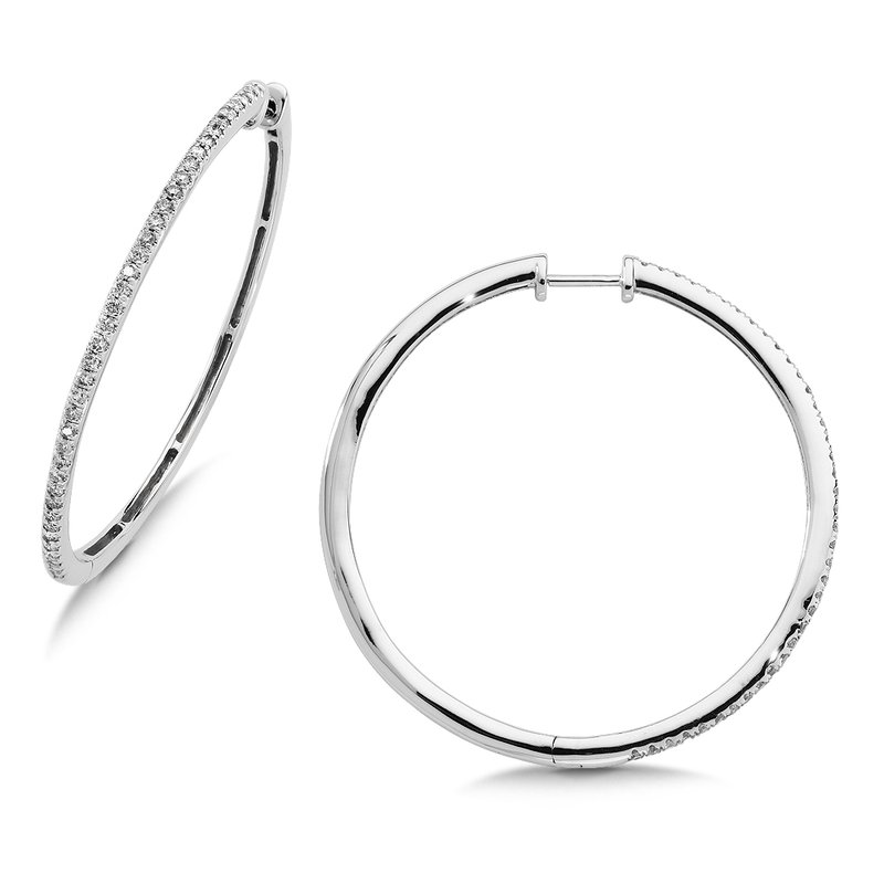 SDC Creations Pave set Slim Diamond Hoops in 14k White Gold (1/3 ct. tw.) GH/SI1-SI2