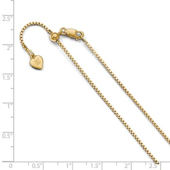 Leslie's Sterling Silver Gold-plated Adjustable 1.1mm Box Chain