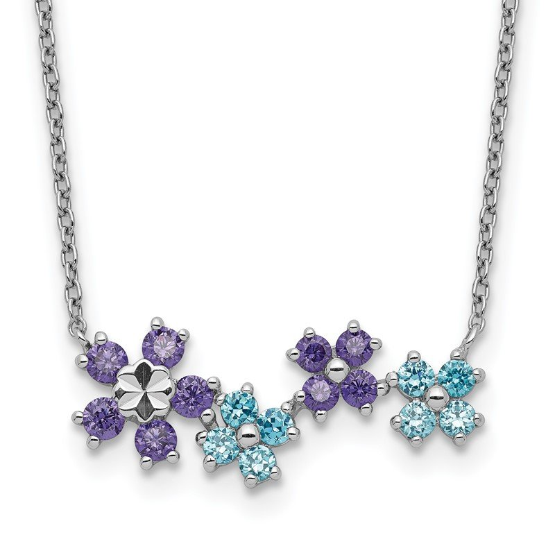 Quality Gold Sterling Silver Purple and Blue CZ Diamond-cut Flower Necklace