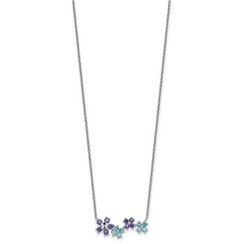 Sterling Silver Purple and Blue CZ Diamond-cut Flower Necklace