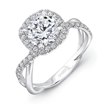 Uneek Round-Diamond-on-Cushion-Halo Engagement Ring with Infinity-Style Crisscross Shank, in 14K White Gold