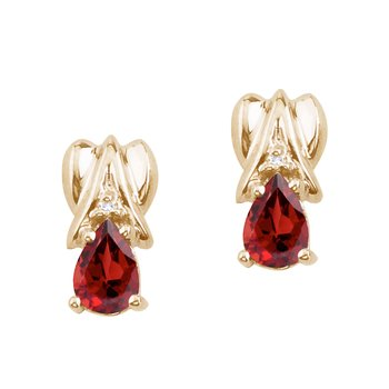 14k Yellow Gold Garnet and Diamond Pear Shaped Earrings