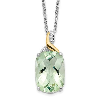 SS & 14k True Two-tone Green Quartz & Diamond Necklace