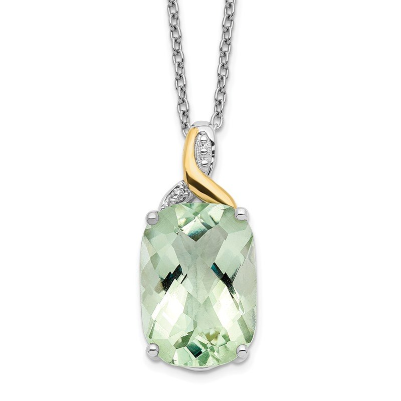 Quality Gold SS & 14k True Two-tone Green Quartz & Diamond Necklace