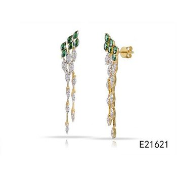 14K lond drop earrings with 66 Diamonds 0.72C TW & 12 Sapphires 1.02C TW