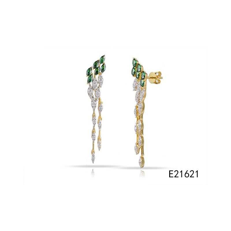 Shula NY 14K lond drop earrings with 66 Diamonds 0.72C TW & 12 Sapphires 1.02C TW