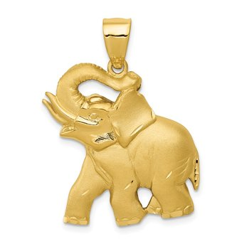 14k Solid Satin Diamond-cut Open-Backed Elephant Pendant
