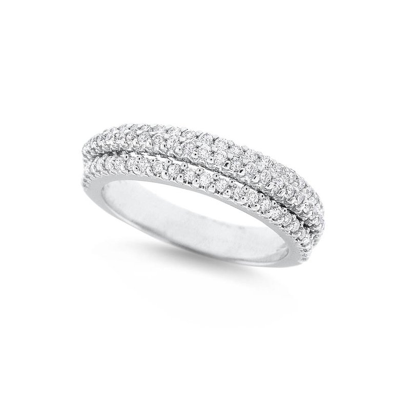 MAZZARESE Fashion Diamond Stack Ring in 14K White Gold with 79 Diamonds Weighing.55ct tw