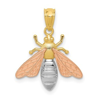 14k Two-tone w/White Rhodium Polished Bee Pendant
