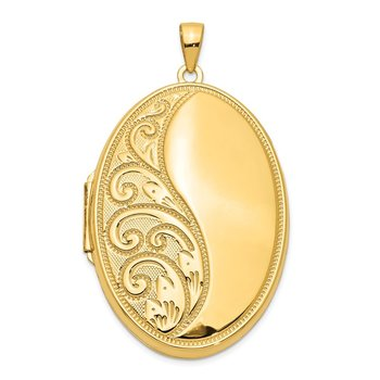 14k Oval Heavy Weight Half Scroll Locket