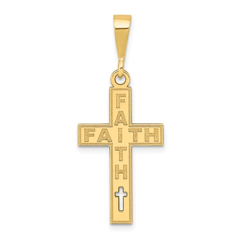 Quality Gold 14K Laser Cut FAITH Cross Charm