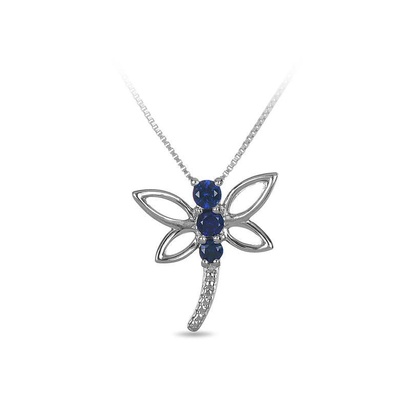 BB Impex 925 SS and blue sapphire butterfly pendant in prong setting