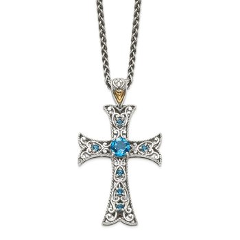Sterling Silver w/14k London Blue Topaz Cross Necklace