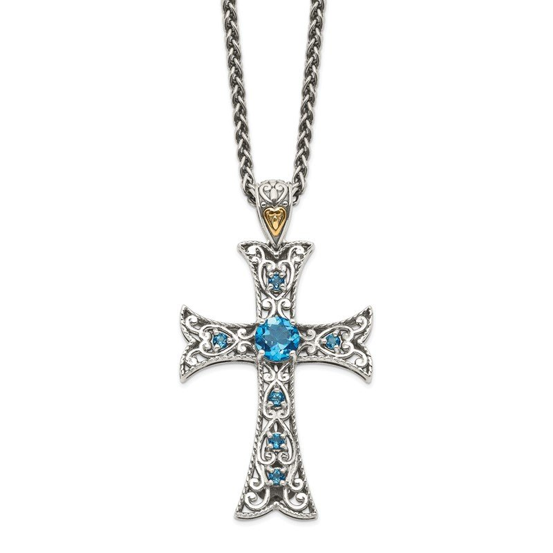 Quality Gold Sterling Silver w/14k London Blue Topaz Cross Necklace
