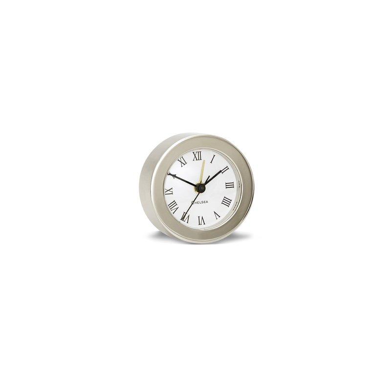Chelsea Clocks Round Desk Alarm Clock In Nickel