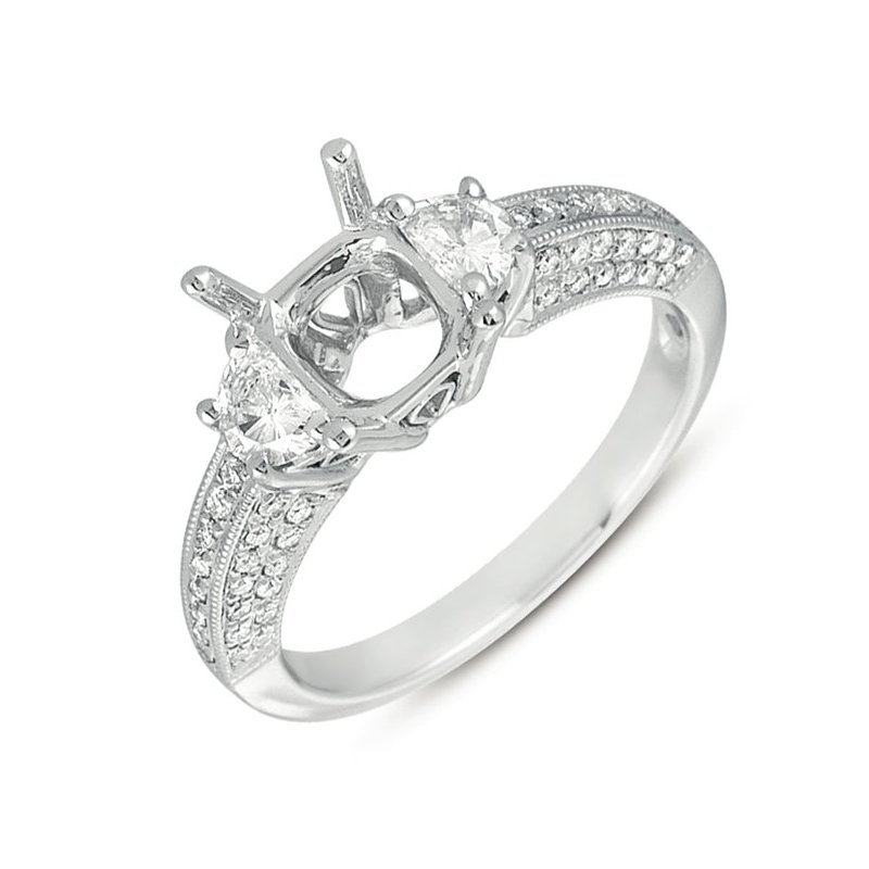 S. Kashi & Sons Bridal White Gold Pave Engagement Ring