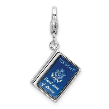 Sterling Silver Amore La Vita Rhodium-plated Enameled 3D Passport Charm