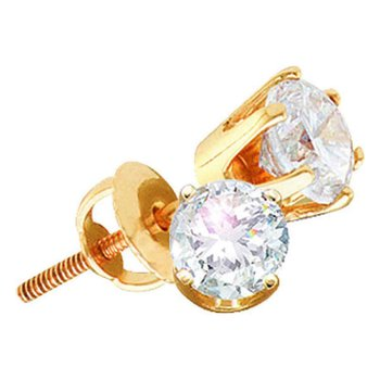 14kt Yellow Gold Womens Round Diamond Stud Earrings 2.00 Cttw