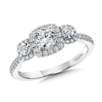 Round 3 Stone Halo Engagement Ring