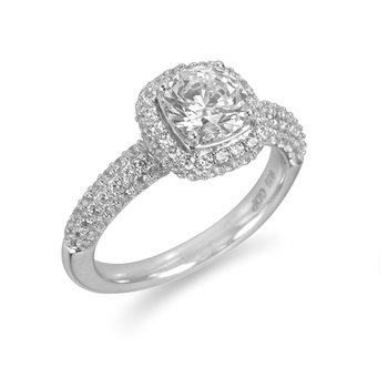 18K WG Diamond Pave Set Engagement Ring for Mounting