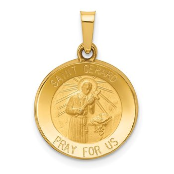 14k Polished and Satin St Gerard Medal Hollow Pendant