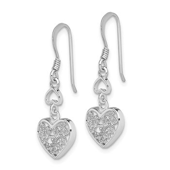 Sterling Silver RH-plated Diamond Heart Shepherd Hook Earrings