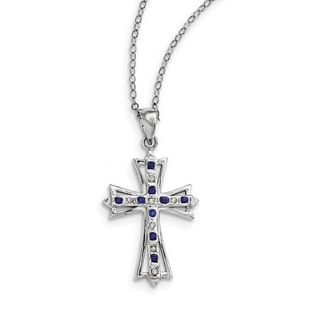 SS Diamond Mystique Platinum-plated Dia/Sapphire 18in Cross Necklace
