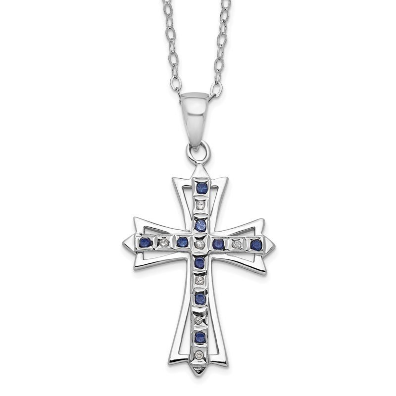 Quality Gold SS Diamond Mystique Platinum-plated Dia/Sapphire 18in Cross Necklace