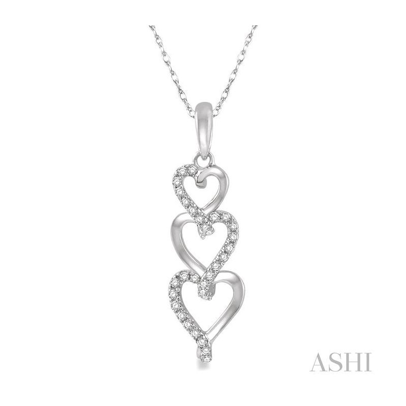 ASHI tri heart shape diamond pendant