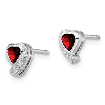 Sterling Silver Rhodium-plated Garnet and Diamond Heart Earrings