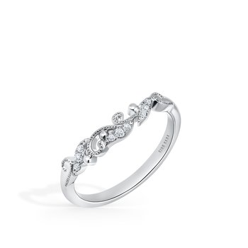 Vine Milgrain Diamond Wedding Band