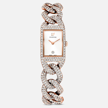 Cocktail Watch, Metal bracelet, White, Rose-gold tone PVD