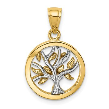 14K Two-tone Polished Tree of Life Pendant