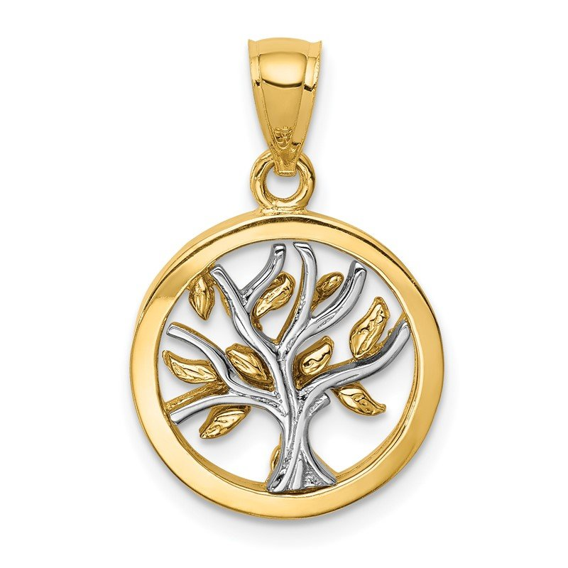 Quality Gold 14K Two-tone Polished Tree of Life Pendant