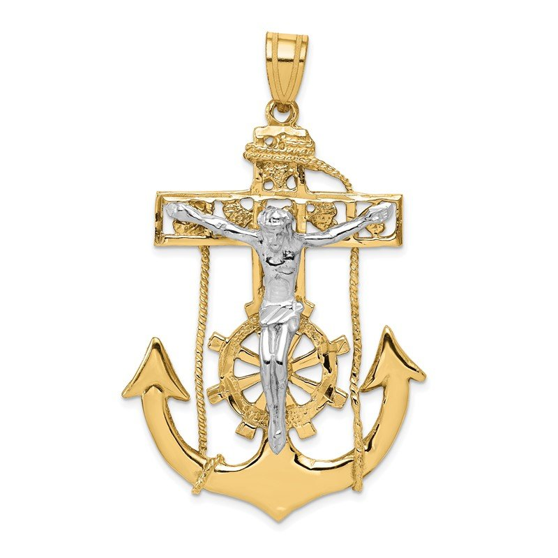 Quality Gold 14k Two-tone Mariner's Crucifix Pendant