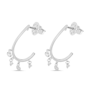 14K White Gold Four-Stone U-Hoop Diamond Earrings