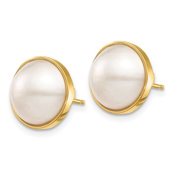 14K 10-11mm White Saltwater Cultured Mabe Pearl Post Earrings