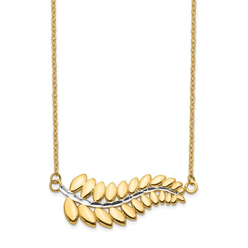 Quality Gold 14K & White Rhodium Fern Necklace