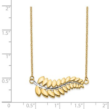 14K & White Rhodium Fern Necklace